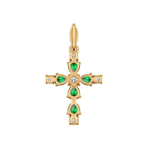 Крест из золота с зелеными фианитами (034775) - фото №2