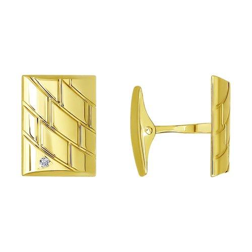 Запонки из желтого золота с фианитами (160020-2) - фото