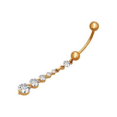 Пирсинг в пупок из золота с фианитами классический пирсинг для носа с бриллиантом
