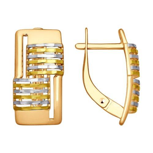 Серьги из золота с алмазной гранью (027893) - фото