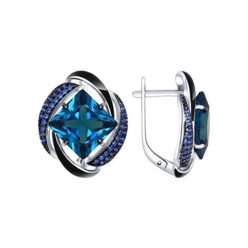 Серьги из серебра с эмалью с синими ситаллами и синими фианитами