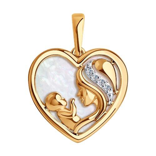 Подвеска «Мать и дитя» из золота с бриллиантами и перламутром