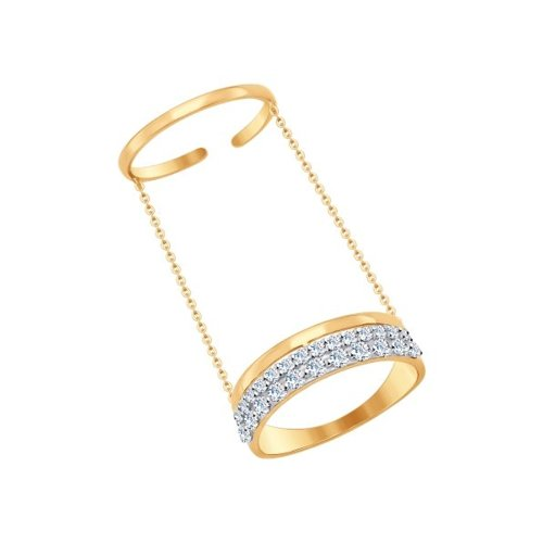 Кольцо на две фаланги SOKOLOV из золота с фианитами
