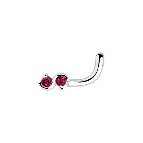Пирсинг в нос бесконечность из серебра с красными фианитами (94060033) - фото