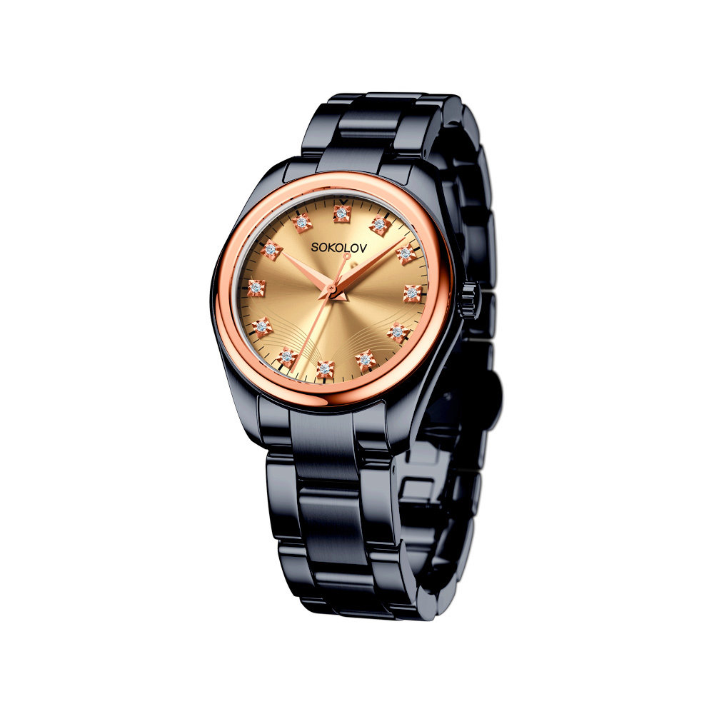 Женские часы SOKOLOV из золота и стали Black Edition фото