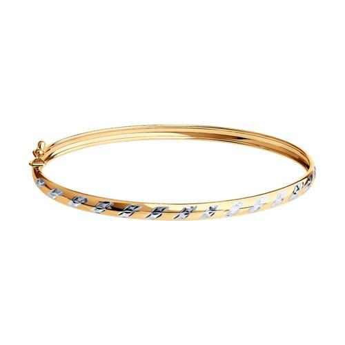 Браслет жёсткий из золота с алмазной гранью (050365) - фото