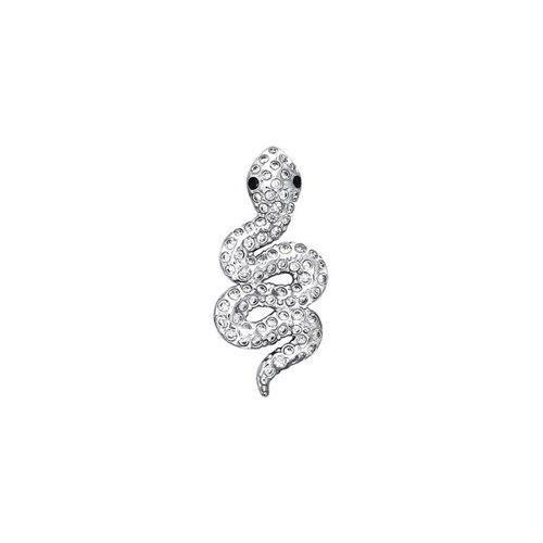 Подвеска SOKOLOV из белого золота в виде змеи с чёрными и обычными фианитами
