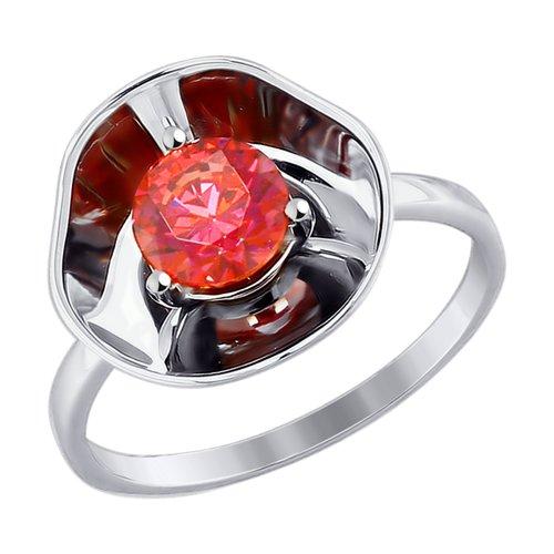 Кольцо из белого золота с красным Swarovski Zirconia (81010379) - фото