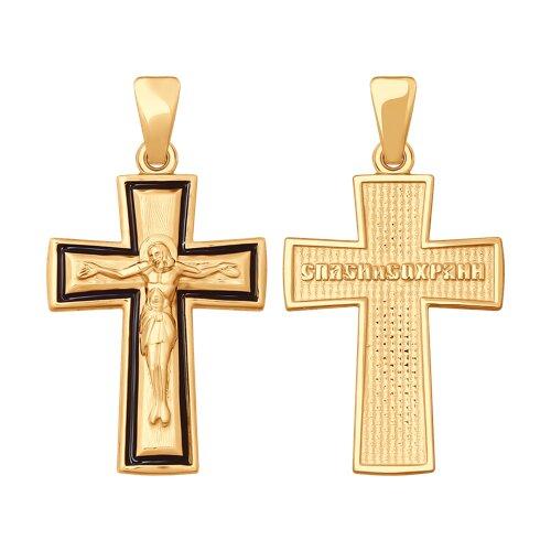 Подвеска- крест из золота с эмалью 121427 sokolov фото