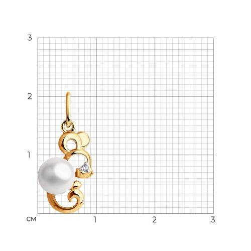 """Подвеска """"Мышка"""" из золота с жемчугом и фианитом 793105 SOKOLOV фото 2"""