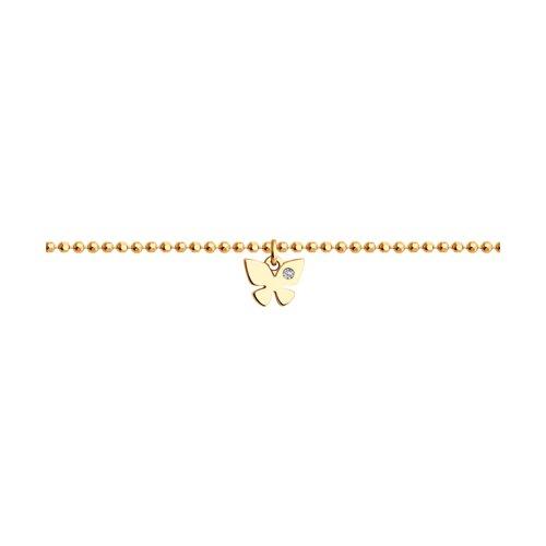 цена Браслет SOKOLOV из золота с бриллиантом «Бабочка» онлайн в 2017 году
