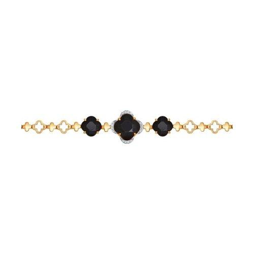 Браслет из золота с бриллиантами и чёрными керамическими вставками