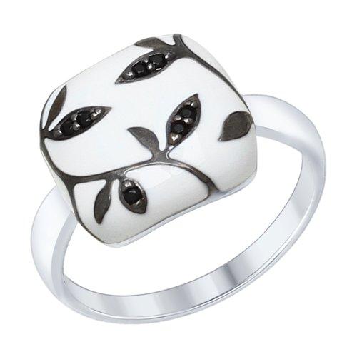 Кольцо из серебра с эмалью с чёрными фианитами (94012559) - фото