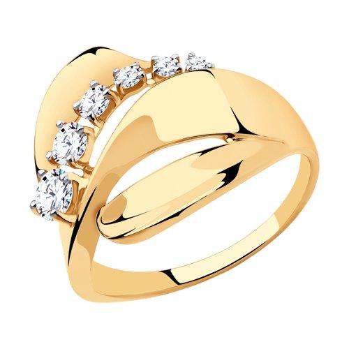 Кольцо из золота с фианитами (018505) - фото