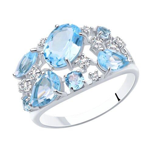 Кольцо из серебра с топазами и фианитами