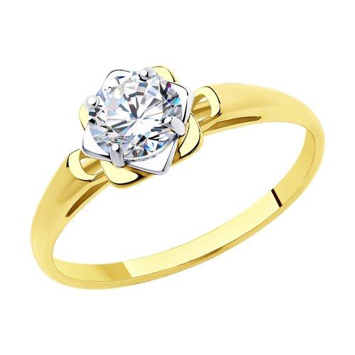 Кольцо из желтого золота с фианитом Swarovski (81010456-2) - фото