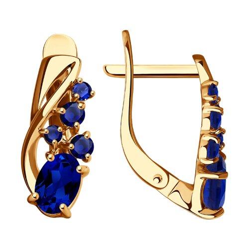 Серьги из золота с синими корунд (синт.) (725671) - фото