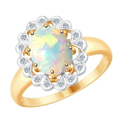 Кольцо из золота с бриллиантами и опалом (6014064) - фото