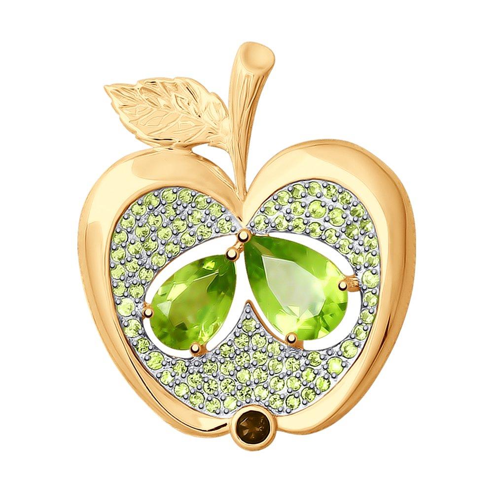 Брошь SOKOLOV из золота «Яблоко» фото