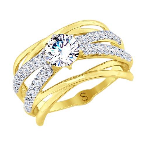 Кольцо из желтого золота с фианитами (017835-2) - фото