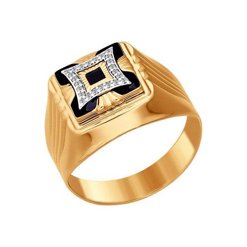 Золотая печатка с фианитами и ониксом