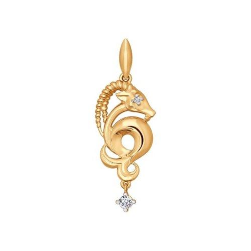 Золотой кулон «Знак зодиака Козерог» (034815) - фото