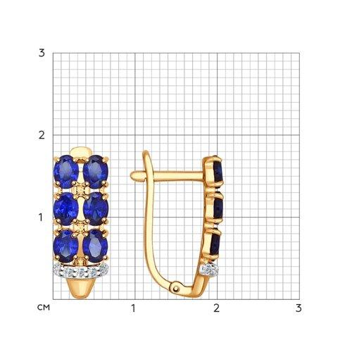 Серьги из золота с корундами сапфировыми (синт.) и фианитами (724567) - фото №2