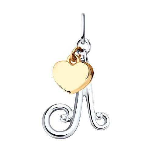 Подвеска-буква «Л» из серебра