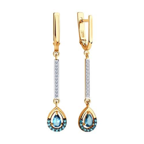 Серьги из золота с синими топазами и фианитами 726103 SOKOLOV фото 3