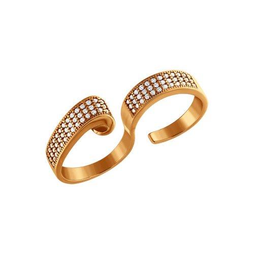 Позолоченое кольцо на два пальца
