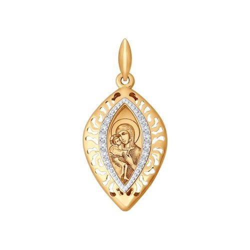 Иконка из золота с лазерной обработкой с фианитами (104098) - фото