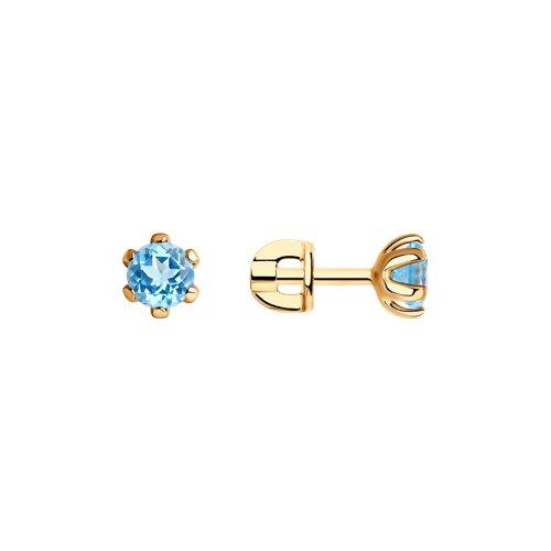 Серьги-пусеты из золота с топазами (720632) - фото
