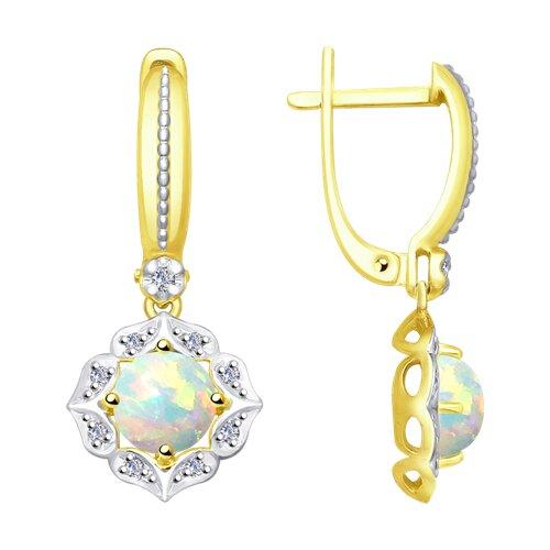Серьги из желтого золота с бриллиантами и опалами (6024065-2) - фото