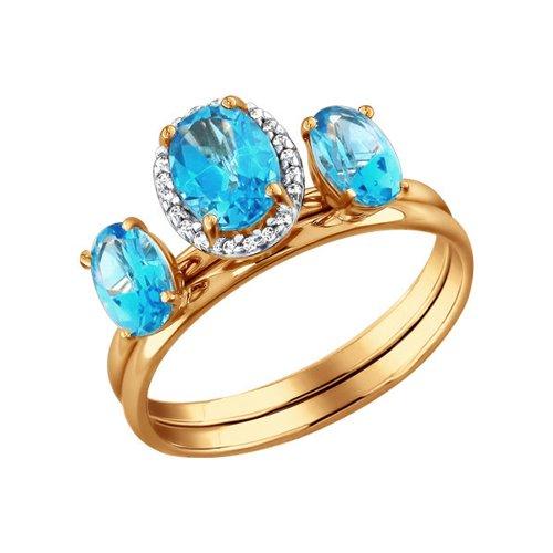 Золотое наборное кольцо с топазами SOKOLOV золотое кольцо ювелирное изделие 01k626002