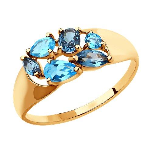 Кольцо SOKOLOV из золота с полудрагоценными вставками фото