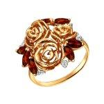 Кольцо из золота с гранатами и фианитами «Розы»