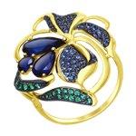 Кольцо из желтого золота с синими корундами и фианитами