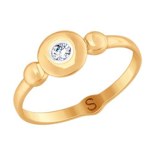 Кольцо из золота с фианитом (017687) - фото