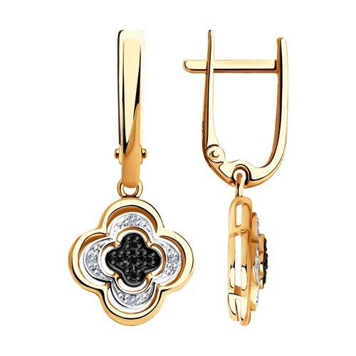 Серьги из золота с бесцветными и чёрными бриллиантами 7020057 SOKOLOV фото