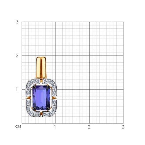 Подвеска из золота с бриллиантами и танзанитом 6034042 SOKOLOV фото 2