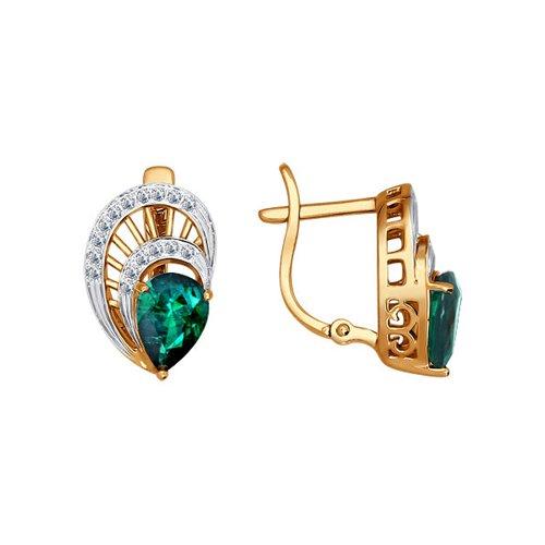 Серьги из золота с бриллиантами и изумрудами