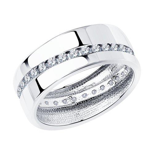 Обручальное кольцо из серебра с фианитами (94110027) - фото
