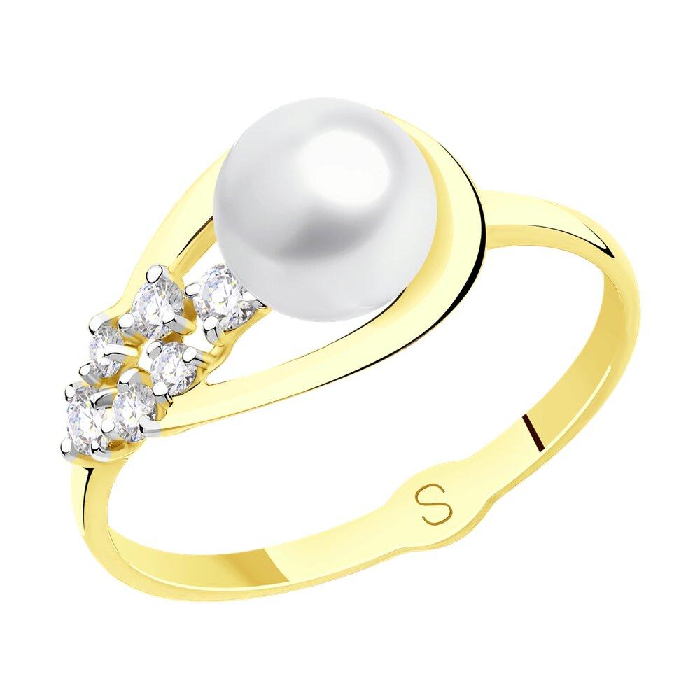 Кольцо SOKOLOV из желтого золота с жемчугом и