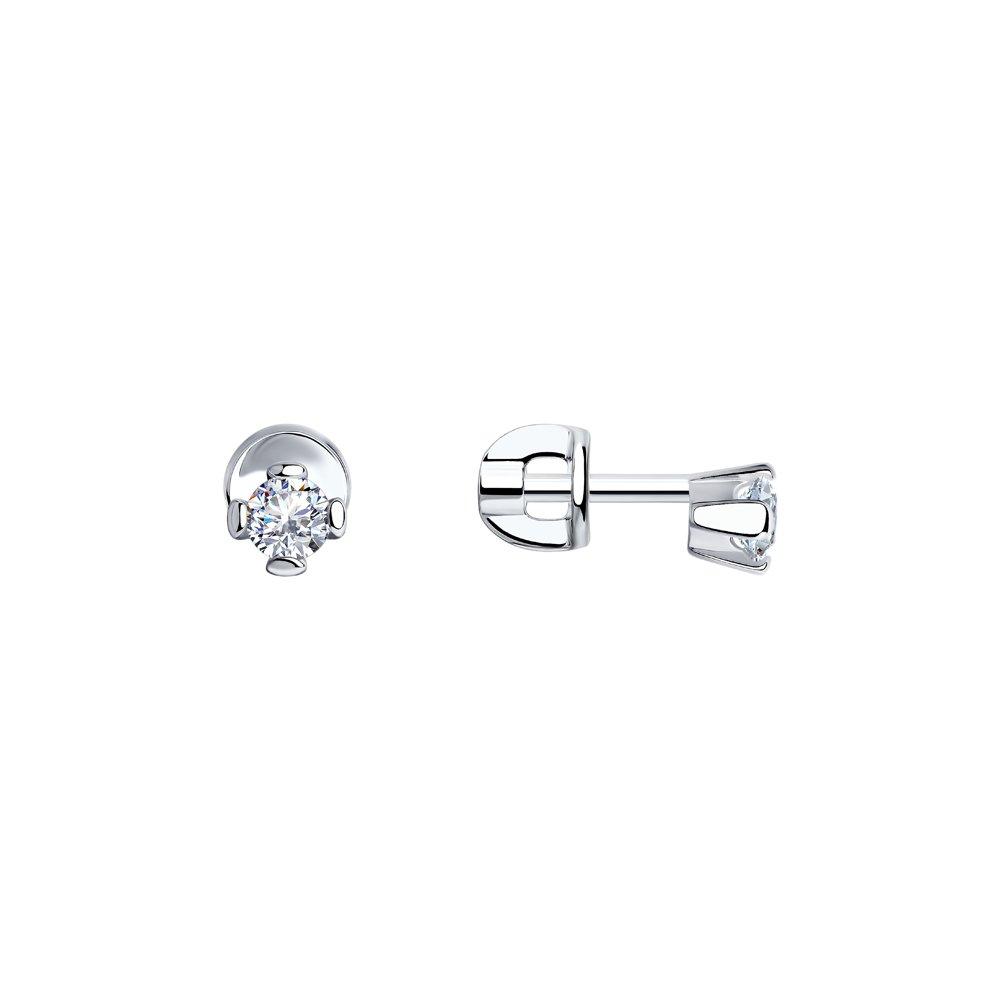 Серьги-пусеты SOKOLOV из серебра с фианитами eshvi позолоченные серьги пусеты из серебра eshvi