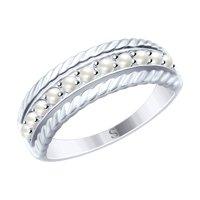 Кольцо из серебра с жемчугом Swarovski