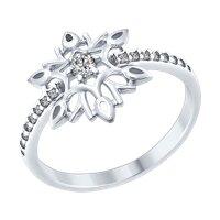Кольцо «Снежинка» из серебра