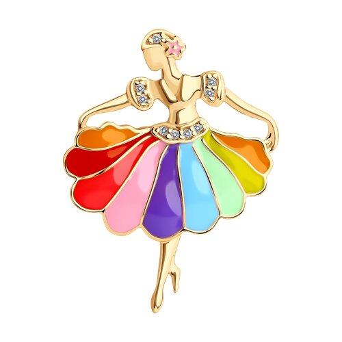 Подвеска с эмалью c фианитами «Модное платье»