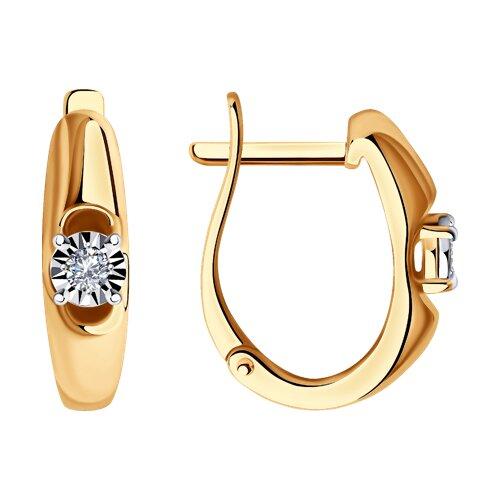 Серьги из комбинированного золота с бриллиантами