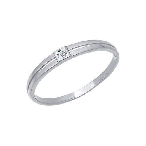 Белое обручальное кольцо с фианитом SOKOLOV
