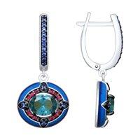 Серьги из серебра с эмалью и синими ситаллами и фианитами